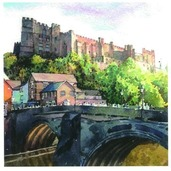Stephen Ward Castle & Bridge Watercolour
