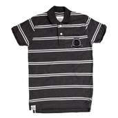 Cotton Striped polo in dark grey