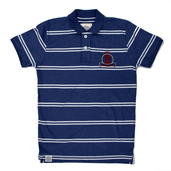 Cotton striped polo in denim