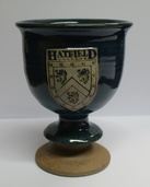 Hatfield College Ceramic Wine Goblet - Dark Blue