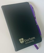 Durham University A6 Black Notebook and Pen