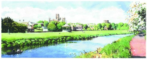 Stephen Ward Skyline Riverbank Watercolour