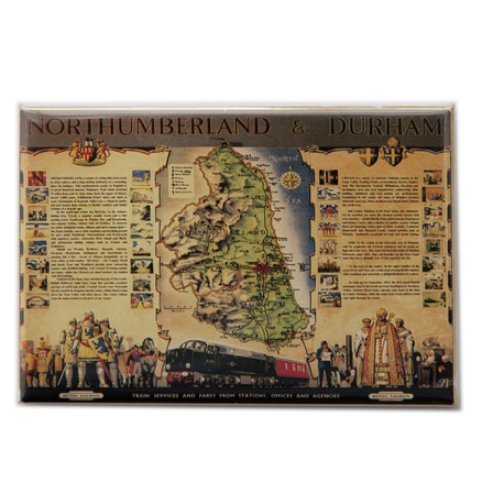 Northumberland and Durham Map Magnet - landscape