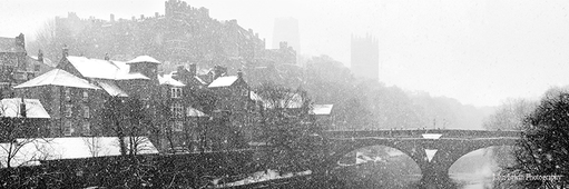 Snowfall Over Durham Print - Small