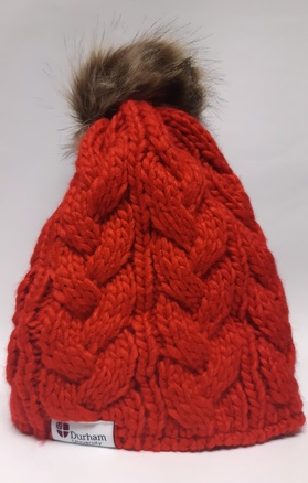 University Pom Pom Beanie Hat - Red