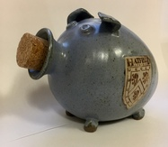 Hatfield College Pig Money Box - Blue