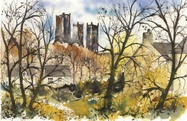 Jenny Ulyatt Durham Cathedral From Grassy Knoll